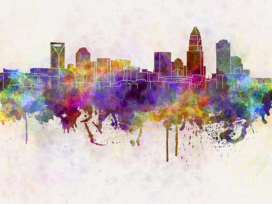 charlotte-skyline-in-watercolor-background-pablo-romero